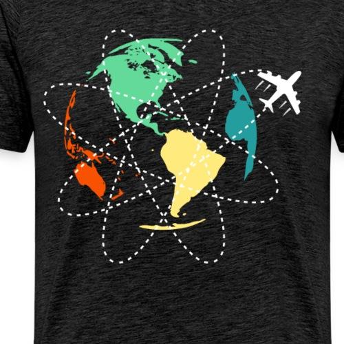 Reisen Weltreise Flugzeug Travelshirt Erde - Männer Premium T-Shirt