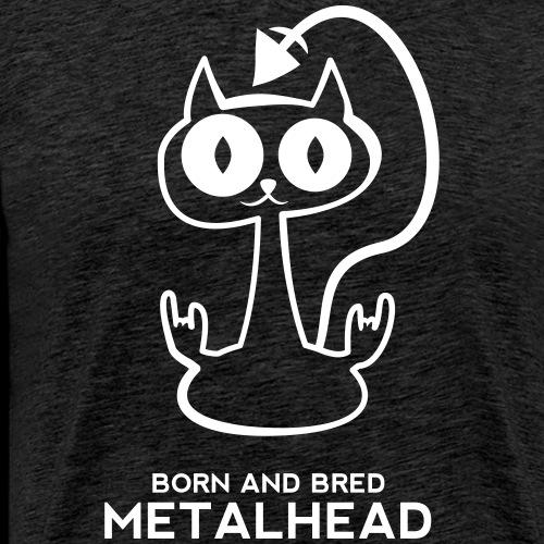 Heavy metal cat for dark backgrounds - Men's Premium T-Shirt