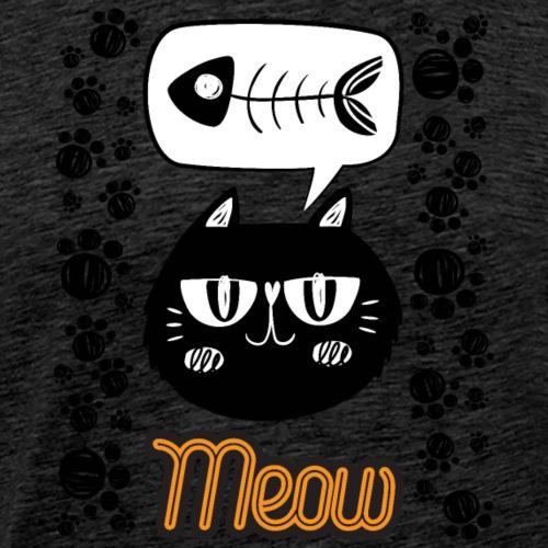 chat noir qui a faim et qui veux manger du poisson - T-shirt Premium Homme