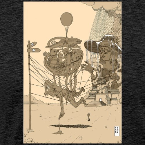 Two Paths. Sepia - Männer Premium T-Shirt
