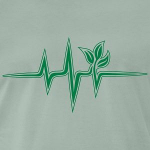 Plant frequency, pulse, heartbeat, green, vegan - Men's Premium T-Shirt