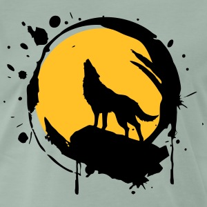 Wolf, Full Moon, power symbol, totem, - Men's Premium T-Shirt