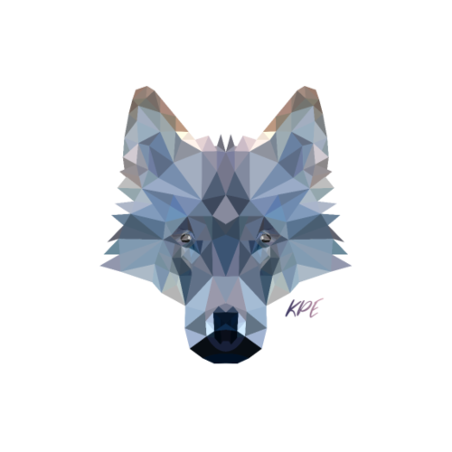 Wolf Kopf im Poly-Style - Männer Premium T-Shirt