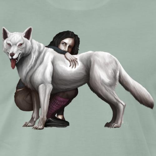 Girl and Siberian Husky - Men's Premium T-Shirt