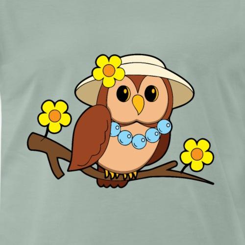 Eule Comic Hut Blumen Geschenk - Männer Premium T-Shirt