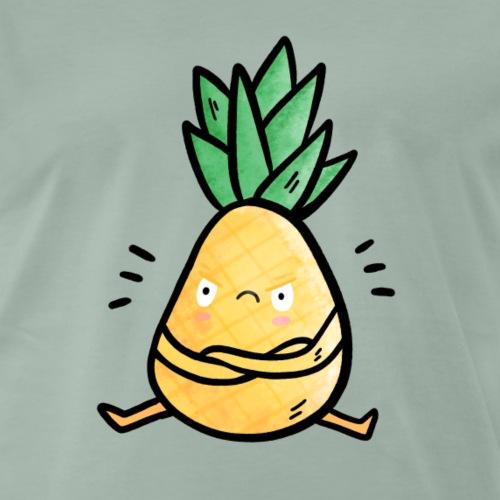 Ananas Grumpy Frucht Obst Illustration Sommer - Männer Premium T-Shirt