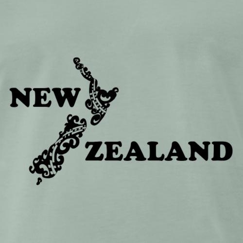 Neuseeland: Karte und Schriftzug in schwarz - Männer Premium T-Shirt