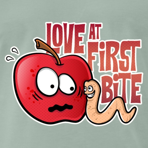 Apple Worm Love at First Sight - Mannen Premium T-shirt