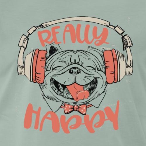 really happy - Französische Dogge mit Kopfhörern - Männer Premium T-Shirt
