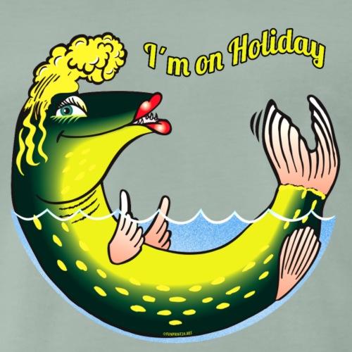 10-39 LADY FISH HOLIDAY - Haukileidi lomailee - Miesten premium t-paita