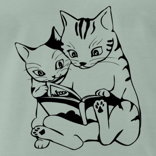 zwei lesende Katzen - Männer Premium T-Shirt