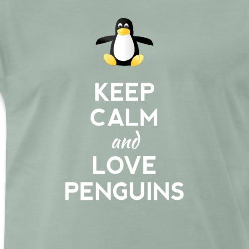 keep calm love Pinguine Linux nerd computer cpu lo - Männer Premium T-Shirt