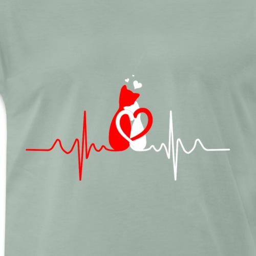 Mein Herz schlägt für Katzen - Männer Premium T-Shirt
