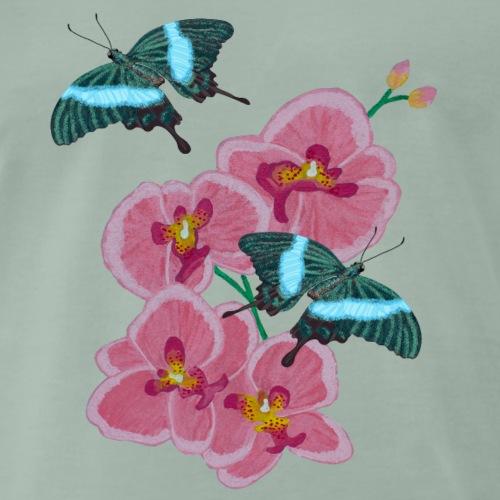 Orchidee Schmetterling smaragd Schwalbenschwanz - Männer Premium T-Shirt