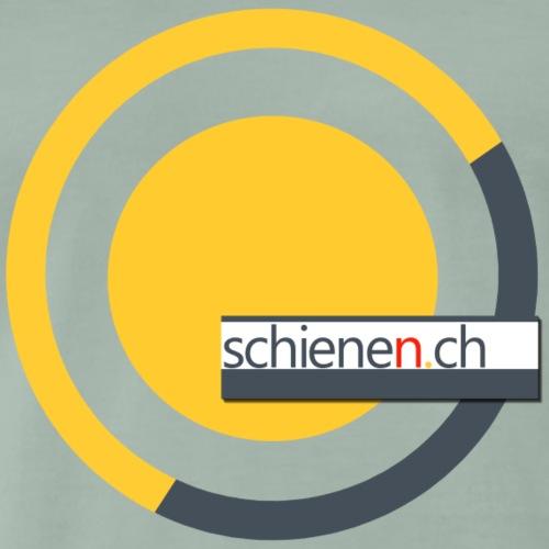 Logo «schienen.ch», gelb-grau - Männer Premium T-Shirt