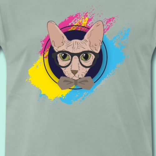 Lustige Nerd Hipster Katze Sphynx - Männer Premium T-Shirt