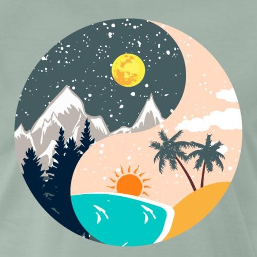Ying & Yang - Sonnenuntergang & Berglandschaft - Männer Premium T-Shirt