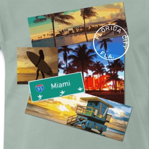 Miami Florida poster travel beach surf t shirt - Men's Premium T-Shirt