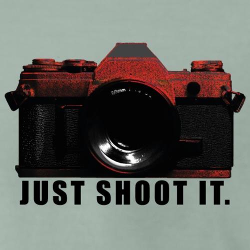 Black & Red Camera JUST SHOOT IT. - Männer Premium T-Shirt