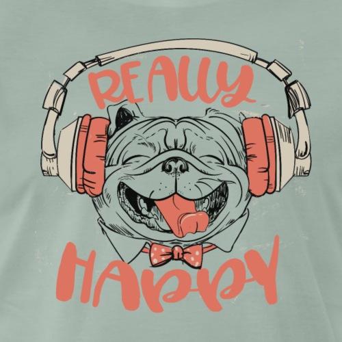 Be really happy - Mops Hund mit Musik Kopfhörer