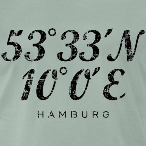 Hamburger Koordinaten (Vintage/Schwarz) Hamburg - Männer Premium T-Shirt