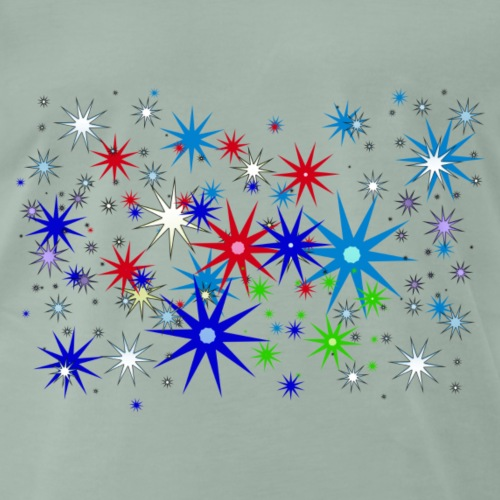 Star Snowflakes falling colourful - Men's Premium T-Shirt