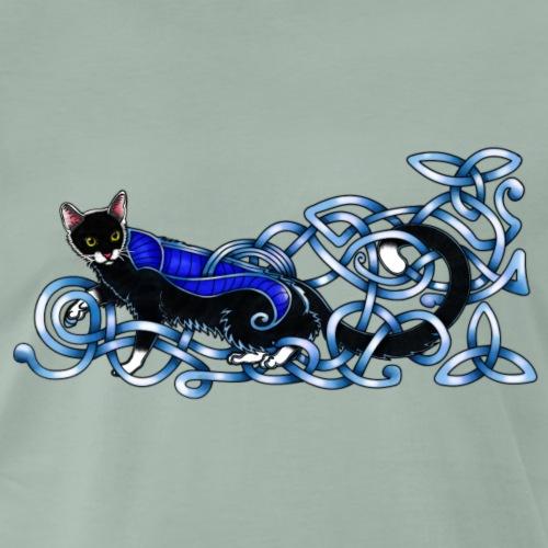 Celtic Cat - silver/blue - Men's Premium T-Shirt