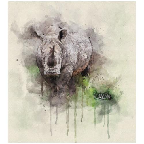 Bord dur d'aquarelle de rhinocéros - T-shirt Premium Homme