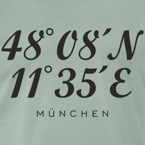 Münchener Koordinaten (Schwarz) München - Männer Premium T-Shirt