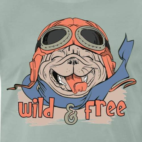 Wild & Free: Happy Pug Flier Freedom - Men's Premium T-Shirt