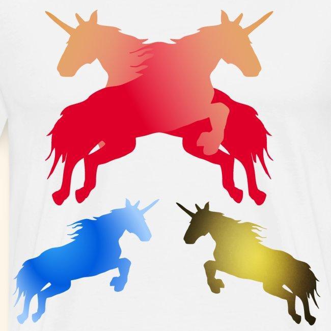 Multi coloured Magical fairy tale unicorns