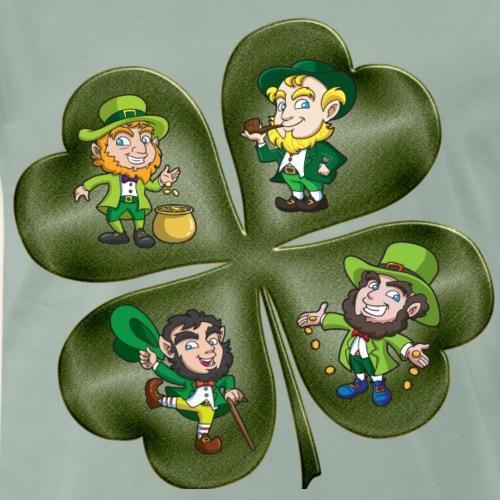 Irish Pat a four leaved clover leprechauns gold - Men's Premium T-Shirt