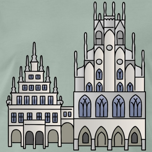 Rathaus Münster c - Männer Premium T-Shirt
