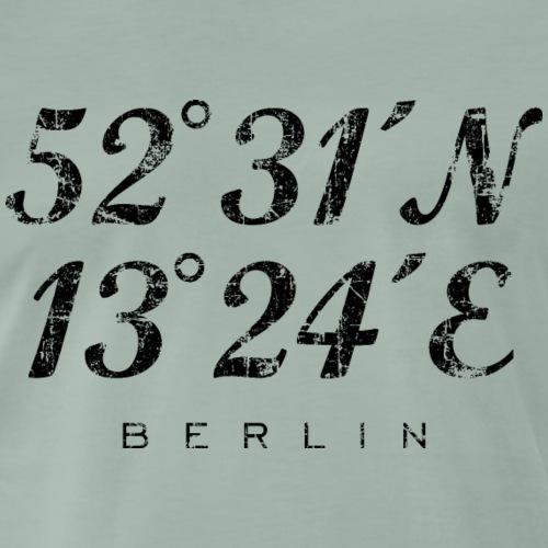 Berliner Koordinaten Berlin (Vintage/Schwarz) - Männer Premium T-Shirt
