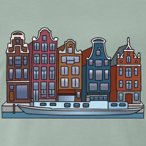 Amsterdam-Häuser-color-4000.png - Männer Premium T-Shirt