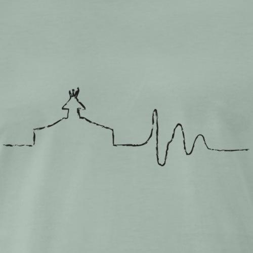 SCOUT.beat – Herzschlag mit Zelt – Schwarz - Männer Premium T-Shirt