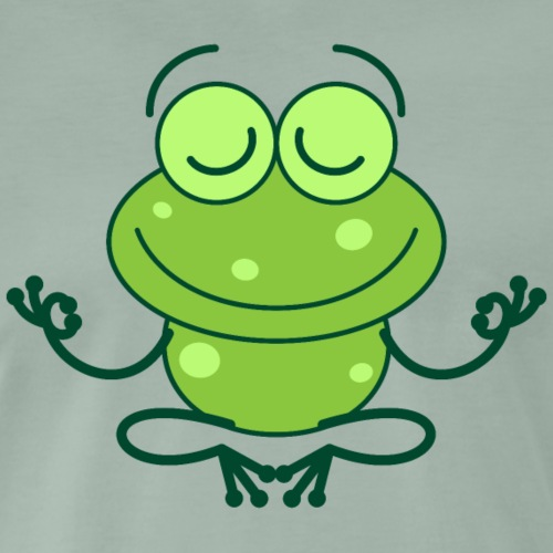 Nice green frog in deep meditation - Men's Premium T-Shirt