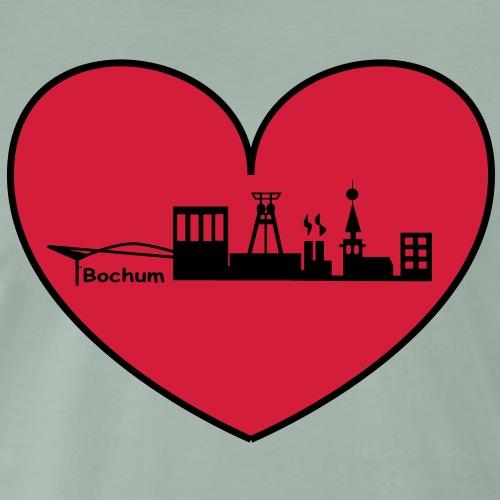 Skyline Bochum im Herz - Männer Premium T-Shirt