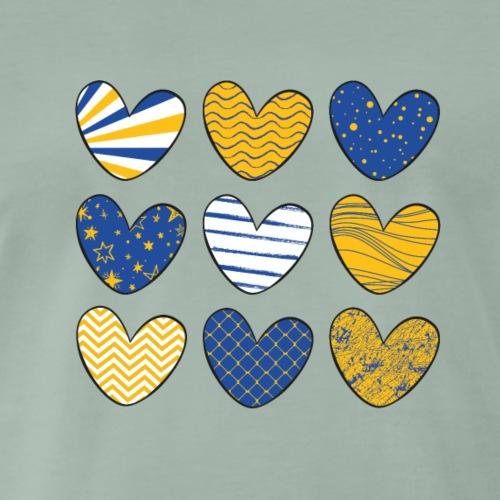 Herzen blau gelb mit Mustern   Das bunte Zebra - Männer Premium T-Shirt