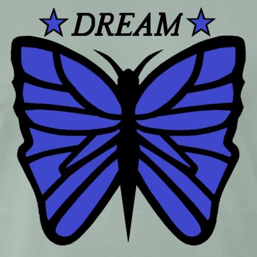 Motiv på en fjäril med ordet dream över. - Premium-T-shirt herr
