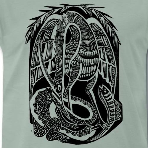 Serpiente y ave africana - Camiseta premium hombre