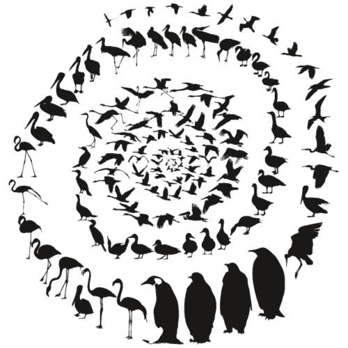 Wasservogelvögel in einer Spirale - Männer Premium T-Shirt