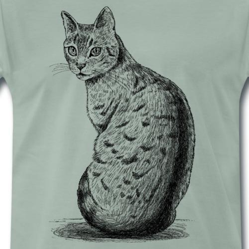 Katze_schaut_nach_hinten - Männer Premium T-Shirt