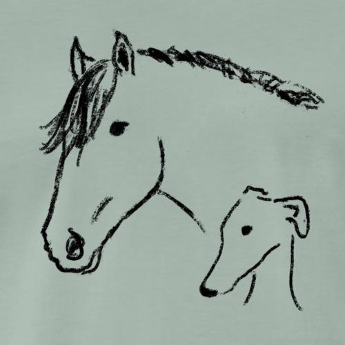 Windhund und Pferd - Männer Premium T-Shirt