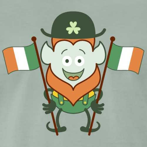 St Paddy's Day Leprechaun posing with Irish flags - Men's Premium T-Shirt