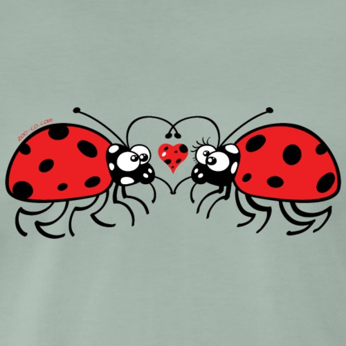 Adorable ladybugs sweetly falling in love - Men's Premium T-Shirt