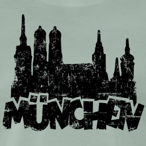 Münchener Skyline München (Vintage Schwarz) - Männer Premium T-Shirt