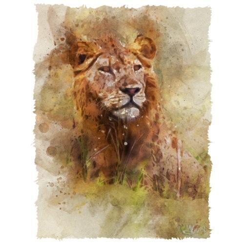 Aquarelle de lion 02 fermeture douce de planche - T-shirt Premium Homme