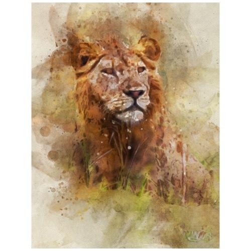 Aquarelle de lion 02 fermeture de planche dure - T-shirt Premium Homme