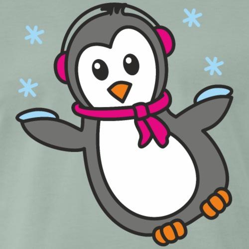 Pinguin Mädchen im Schnee - Männer Premium T-Shirt